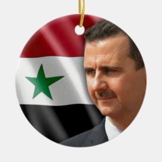 بشارالاسد de Bashar al-Assad Ornamento De Cerâmica Redondo