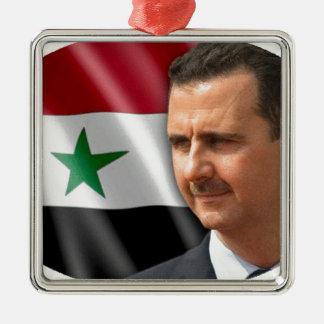 بشارالاسد de Bashar al-Assad Ornamento Quadrado Cor Prata