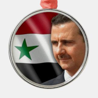 بشارالاسد de Bashar al-Assad Ornamento Redondo Cor Prata