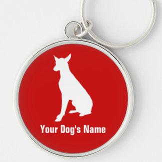 ハウンド personalizado do ・ do ファラオ do cão do faraó chaveiro redondo na cor prata