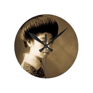 芸者 japonês clássico Japão da gueixa da beleza do Relógio Redondo