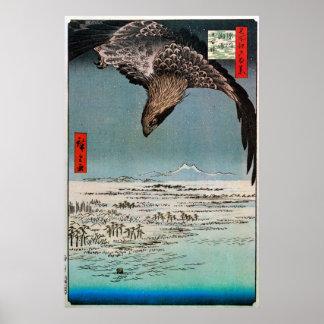 鷲と雪景色, 広重 Eagle e cena da neve, Hiroshige Pôster