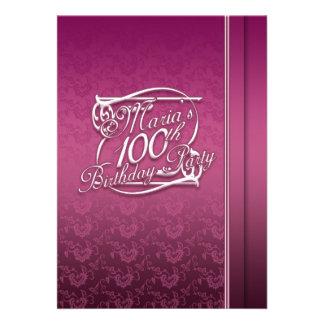 100th aniversário personalizado Inviations