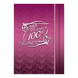100th aniversário personalizado Inviations Convite 12.7 X 17.78cm