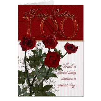 100th Cartão de aniversário com rosas