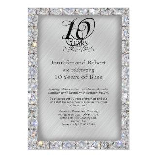 10o Aniversário da lata e de casamento do diamante Convite 12.7 X 17.78cm