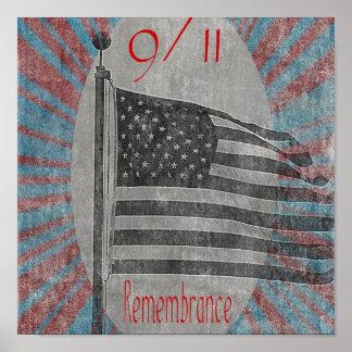 11 de setembro impressão da bandeira da relembranç