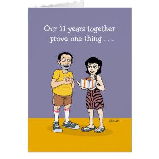 11o aniversário engraçado cartão comemorativo