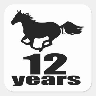 12 anos de design do aniversário adesivo quadrado