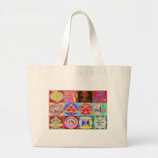 12 designs curas de Reiki n Karuna Reiki Bolsa Tote Grande