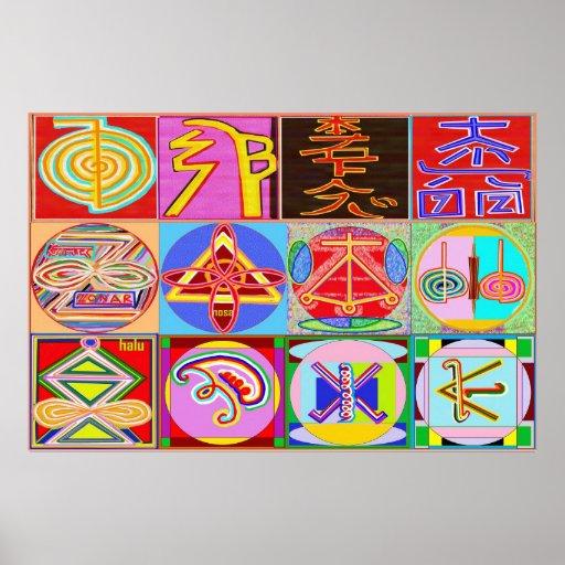 12 símbolos de REIKI n KARUNA Poster