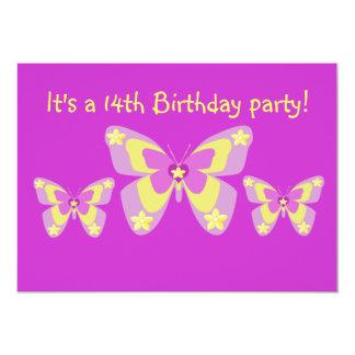 14o Convite de aniversário, borboletas