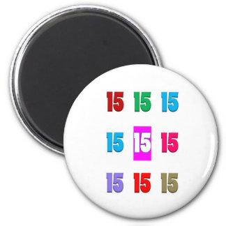 15a décima quinta data da rua do aniversário do an imãs de geladeira