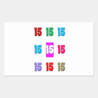 15a décima quinta data da rua do aniversário do adesivos em formato retangulares