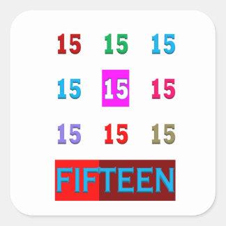 15o jogo da sala da idade do aniversário do adesivo quadrado