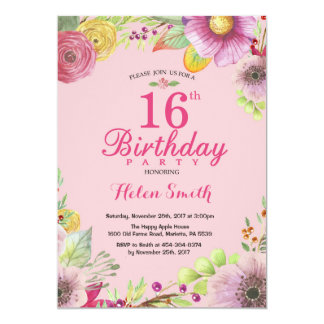 16o convite floral do aniversário para o rosa das