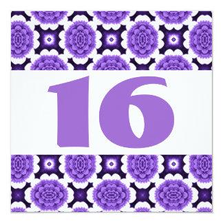 16o O roxo festivo da festa de aniversário Convite Quadrado 13.35 X 13.35cm