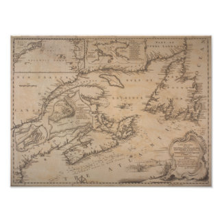 1746 Map Coast of New England and New France Pôster