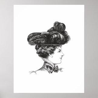1800s da senhora Elegante Preto Branco do vintage Poster