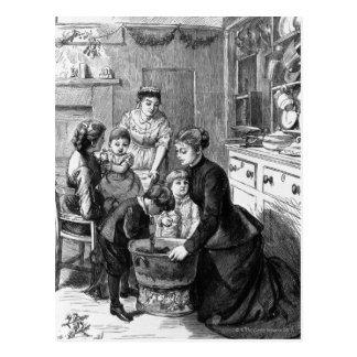 1876: O pudim do Natal do stir da ajuda das Cartão Postal