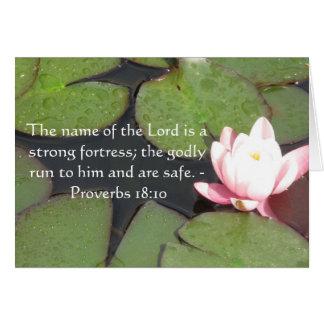 18:10 inspirado dos provérbio do verso da bíblia cartao
