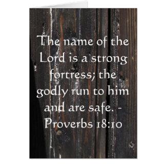 18:10 inspirado dos provérbio do verso da bíblia cartão
