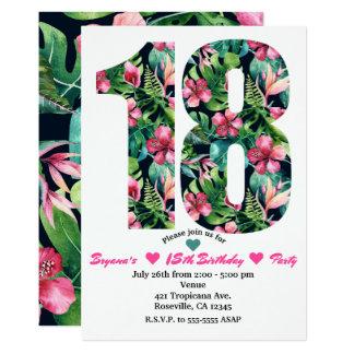 18 florais tropicais 18o convite de aniversário