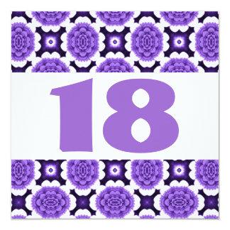 18o O roxo festivo da festa de aniversário Convite Quadrado 13.35 X 13.35cm