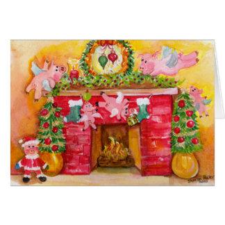 2010 porcos de voo decoram a lareira & a casa cartão comemorativo
