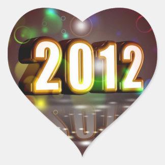 2012 anos novos adesivo coração