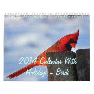 2014 calendário com feriados - pássaros