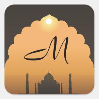 "20 - 1,5"" laranja do por do sol de Taj Mahal da Adesivo Quadrado"