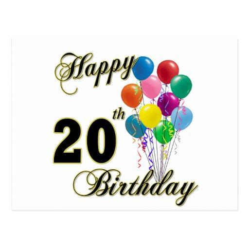 20o Aniversário Feliz Com Balões Cartão Postal