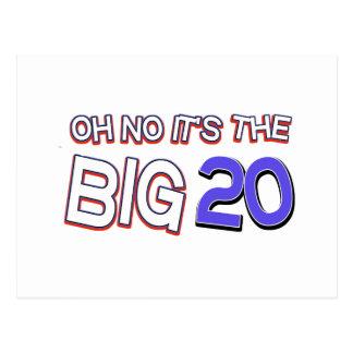 20o design do aniversário cartão postal