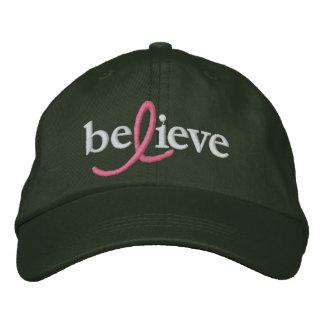 ($21,95) Acredite o chapéu da fita de câncer de ma Boné Bordado