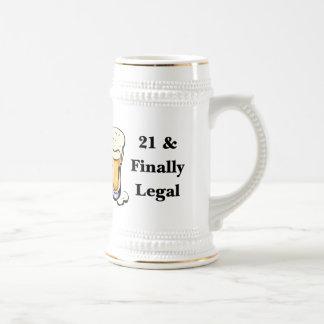 21 & finalmente legal caneca de cerveja