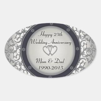 25o Aniversário de casamento de prata Adesivo Oval