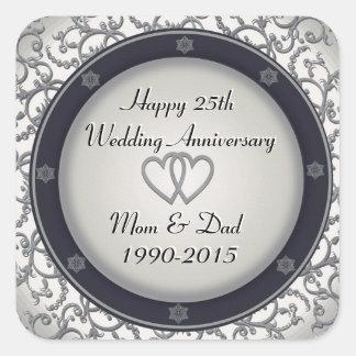 25o Aniversário de casamento de prata Adesivo Quadrado