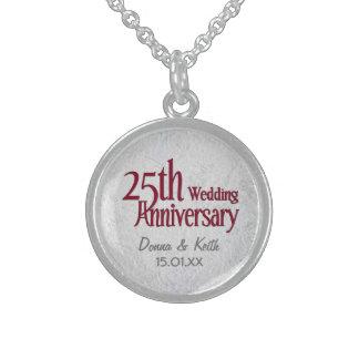 25o Aniversário de casamento de prata Colar De Prata Esterlina