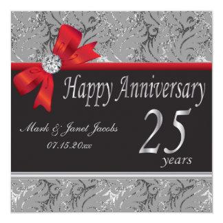 25o Aniversário de casamento de prata Convite Quadrado 13.35 X 13.35cm
