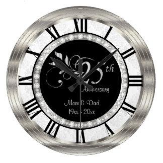 25o aniversário de prata bonito do diamante relógio para parede