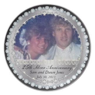25o aniversário de prata preto e de prata elegante prato