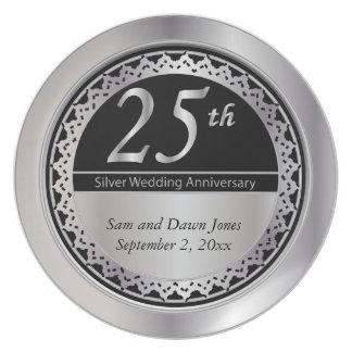 25o aniversário de prata preto e de prata prato de festa