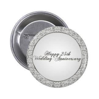 25o Botão do aniversário de casamento Bóton Redondo 5.08cm