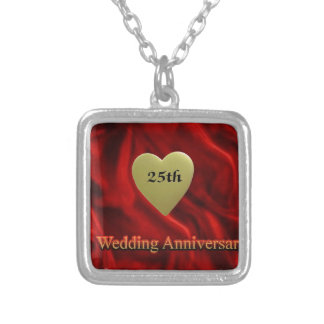 25o casamento anniversay colar banhado a prata