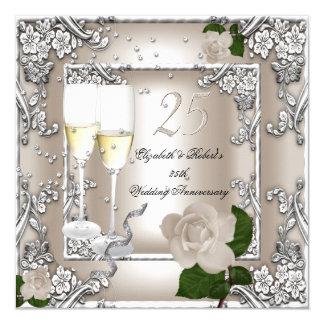 25o Prata cor-de-rosa do creme do casamento do Convite Quadrado 13.35 X 13.35cm