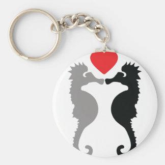 2 cavalos marinhos no ícone do amor chaveiro