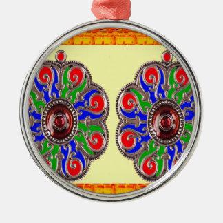 2 decorações do indiano de Ethinic da jóia de Ornamento Redondo Cor Prata