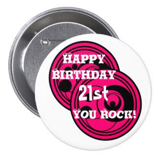 2ø cor-de-rosa & preto do feliz aniversario dos bóton redondo 7.62cm