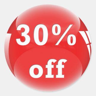 30% fora (por cento) da etiqueta lustrosa redonda adesivo